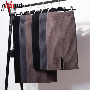 Gkfnmt Basic Skirts Winter Chic Pencil Skirts Women Bodycon Skirt Wool Rib Knitted Long Skirt Back Split Midi Skirt