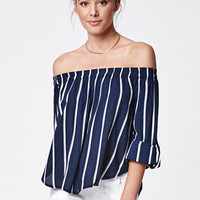 FAITHFULL THE BRAND Devin Stripe Off-The-Shoulder Top at PacSun.com