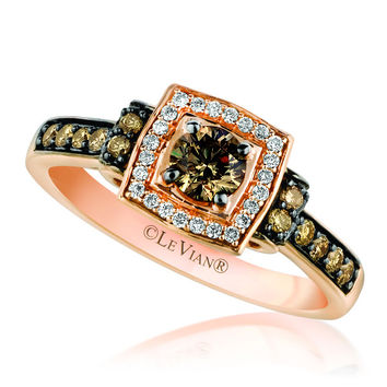 Le Vian 14K Strawberry Gold® Square Halo Ring Featuring 0.62 Carats Chocolate & Vanilla Diamonds