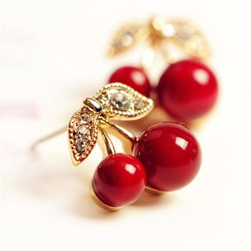 New Fashion Cute Lovely Red Cherry Earrings Rhinestone Leaf Bead Stud Earrings For Woman Jewelry Boucle D'oreille Femme