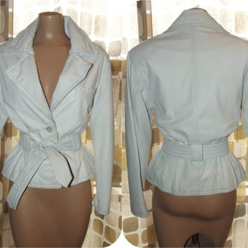Vintage 80s White Leather Jacket Fitted Tie Peplum Waist Sexy Rocker Biker Motorcycle Jacket