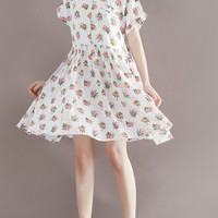 Women's Peter Pan Collar Floral Print Loose Fit Short Dress