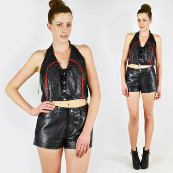 vtg 80s black red braided LEATHER lace-up CORSET MOTORCYCLE moto biker crop cropped halter tank top M L