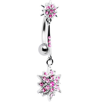Pink Gem Shooting Star Top Mount Dangle Belly Ring