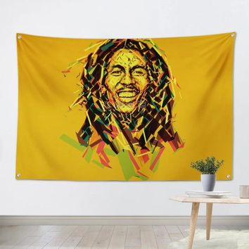 Bob Marley Reggae Pop Rock Band Poster Big Four-Hole Hanging Cloth Flags Personality Banners Music Studio Bar Cafe Home Decor