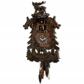 Kassel Cuckoo Clock Hand Carved Wood Accents HHCCRD