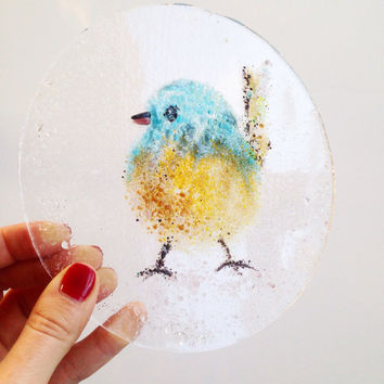 Fused glass plate cute chick, kitchen wall decorations, fused glass wall art, cute gift for mom, cute gift for girl, gift for Christmas