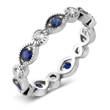 Sterling Silver Ring, White and Blue Simulated Sapphire, Eternity Band