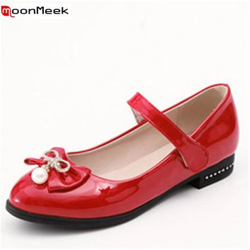 MoonMeek new arrive 2018 lolita pumps women shoes round toe with butterfly knot hook loop patent leather square heel ladies shoe