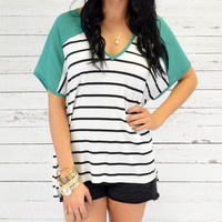 Sandpiper Green Semi-Sheer Striped Top