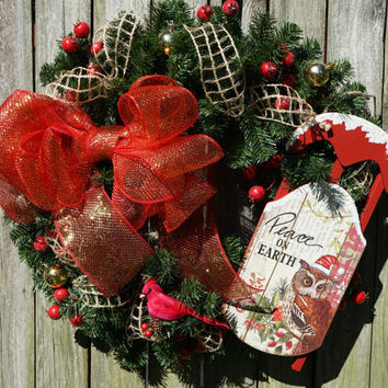 Christmas Wreath with Sled and Burlap, Christmas Door, Red Christmas Wreath, Winter Wreath, Traditional Christmas Wreath, Burlap Wreath