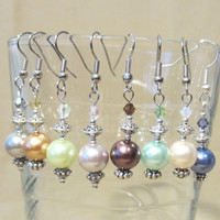Lovely Colored Pearl & Matching Crystal Dangle Wedding Earrings, Handmade, Classic, Elegance, Fashion Jewelry