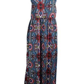 Mogul Womens Blue Cotton Dress Floral Print Summer Chic Halter Dress