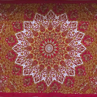 15% Off Queen Size Hippie Star Tapestry Psychedelic Gypsy Bo Ho Sun Moon Tapestry Mandala Chakra Wall Hanging Beach Blanket - Red/Orange