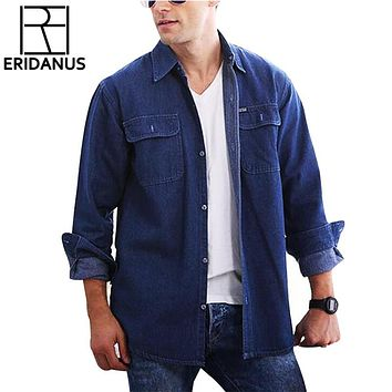 New Arrival Jeans Blue Shirts Mens Long Sleeve Fashion Casual Washing Cotton Shirt Social Double Pockets Design