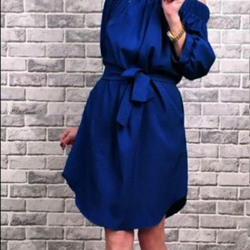 Blue Sashes Irregular Boat Neck Elbow Sleeve Mini Dress
