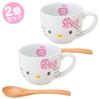 Hello Kitty Mug Cup Set with Bamboo Spoon SANRIO JAPAN