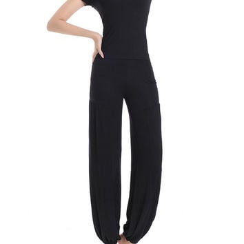 Women Solid Yoga Sport Athleisure Three-piece Suit Lantern Pants