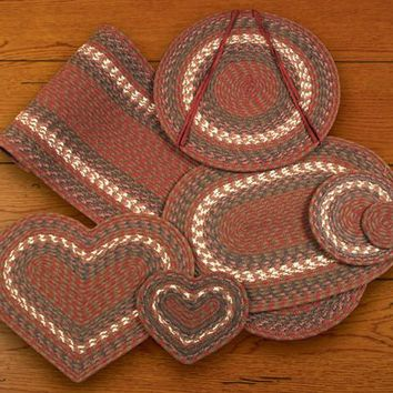 "Burgundy/Gray Table Accents  8"" Round Trivet"