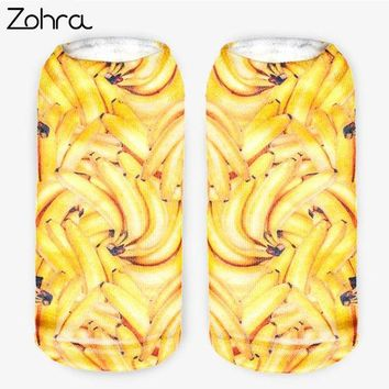 DCCKHG7 Zohra New Arrival Banana Graphic 3D Full Printing Calcetines Women Low Cut Ankle Sock Hosiery Fruit Shape Meias Socks