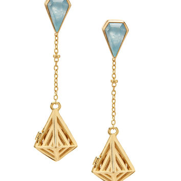 Convertible Geo-Gem Earrings - Gold