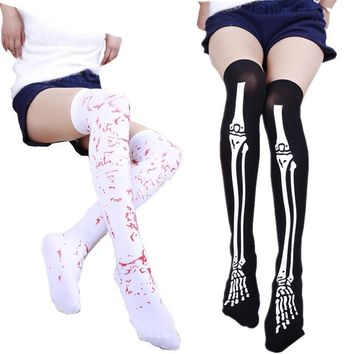 Women Gothic Skeleton Bone Blood Stained Halloween Party Slim Tights Stockings