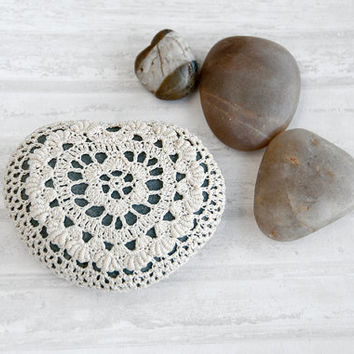 crochet covered rock, lace stone, beach wedding, ring bearer pillow, fiber art, natural heart shaped stone, tabletop decor, bowl element