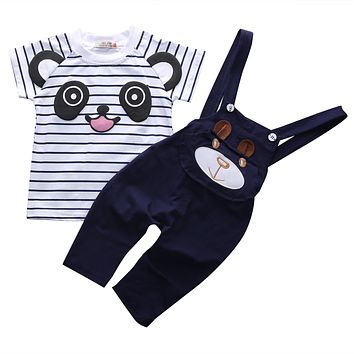 2PCS Set Newborn Infant Toddler Baby Boys Girls Casual Cute Clothes Bear T shirt Tops Bib Pants Outfits