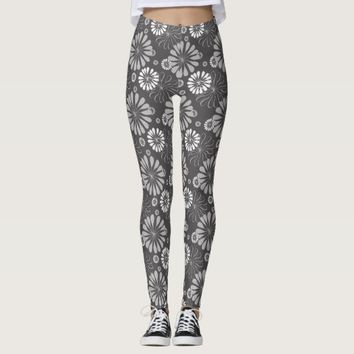 Grey & White Abstract Floral Pattern Leggings