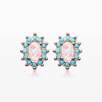 A Pair of Rose Gold Elegant Opal Turquoise Ear Stud Earrings