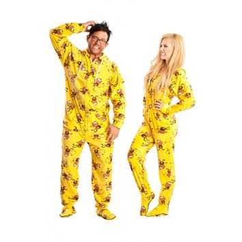 Monkey printed adult Onesuit Pajamas