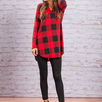 Rightly Rustic Tunic, Red-Black