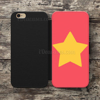 Wallet Case For iPhone 6S Plus 5S SE 5C 4S case, Samsung Galaxy S3 S4 S5 S6 Edge S7 Edge Note 3 4 5 Steven Universe Star Cases