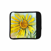 "Liz Perez ""Sunny Day"" Yellow Floral Luggage Handle Wrap"