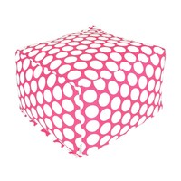 Large Printed Indoor Ottoman - Large Polka Dot - Hot Pink
