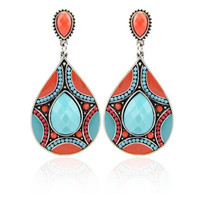 New Arrival Drop Earrings Ethnic Vintage Silver Plated Multicolor Bead Large Bohemia Dangle Earrings Statement Women Jewelry = 1946812484