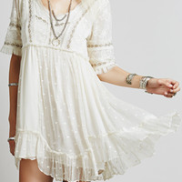 White V-Neck Lace Embroidered Ruffle Dress