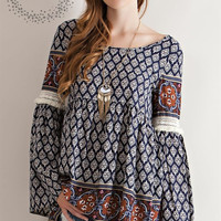 Border Print Peasant Blouse - Navy