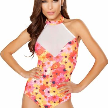 Roma Rave 3294 - Printed Romper with Sheer Detail