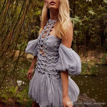 Beading Patchwork Sexy Dress For Women Off Shoulder Halter Puff Sleeve Hollow Out Slim Mini Dresses Female Summer