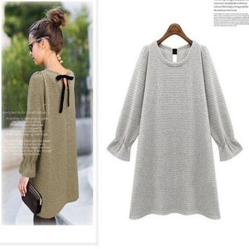 DCCKIX3 Bowknot winter Maternity Dresses Vestido Gestante Roupa Gestante Pregnancy Clothes For Pregnant Women bottoming knit skirt@DWZ = 1945717252