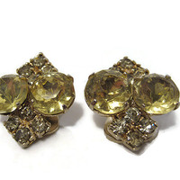 Vintage Rhinestone Earrings Yellow Clip Gold Tone Mid Century Mod Sparkle Glam Bling Jewelry