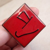 Red Enamel Cufflinks Square Top Hat and Cane Copper Swivel T Back Vintage