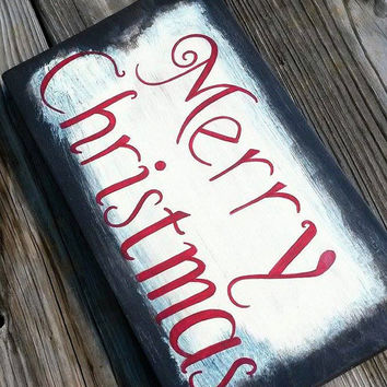 Merry Christmas Distressed Reclaimed Wood Hand Painted Sign