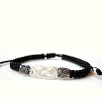 Pure Silver And Black Cord Bracelet, Valentine's Day, Adjustable Friendship, Mens Jewelry, Bracelet Unisex - Gift under 15, Ready to Ship