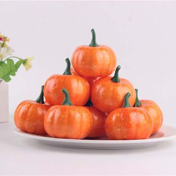 16PCS 5.5CM Small Pumpkins Fall Foam Pumpkin Fake Lifelike Props Simulation DIY Crafts Halloween Party Decoration