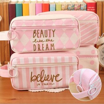 Kawaii Pink large Capacity canvas Cute Pencil case School Minecraft etui Trousse scolaire stylo Pencilcase estuche escolar 04893
