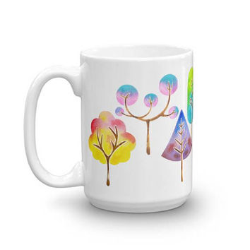Trees Mug, Watercolor Mug, Coffee Mug, Nature Mug, Watercolor Art Mug, Birthday Gift, Thank You Gift, Kitchen Decor, Watercolor Print Mug
