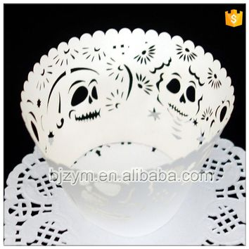 Lace skull paper shaped cake kitchen accessories cupcake liners wrappers 12 pcs