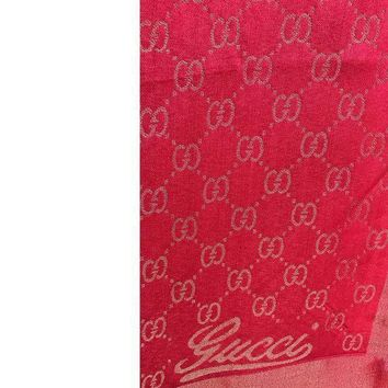 Gucci Large Women's Gg Cashmere Scarf / Wrap / Shawl Red N Gold Used
